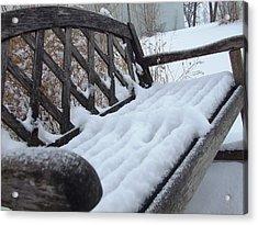 Snowy Bench Acrylic Print by Ali Dover
