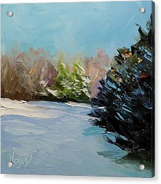 Snowy Bend Acrylic Print by Mike Moyers