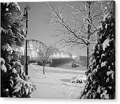 Snowy Bridge With Trees Acrylic Print by Jeremy Evensen