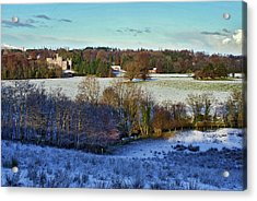 Snowy Cabin Wood Acrylic Print