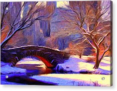 Snowy Central Park Acrylic Print by Caito Junqueira