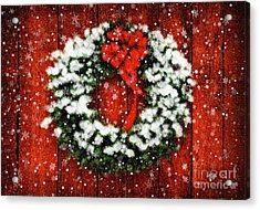 Snowy Christmas Wreath Acrylic Print by Lois Bryan