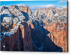 Snowy Cliffs Of Zion National Park Acrylic Print