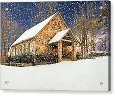 Snowy Cloudland Presbyterian Church  Acrylic Print