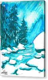Acrylic Print featuring the mixed media Snowy Creek Banks by Seth Weaver