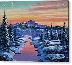 Snowy Creek Acrylic Print by David Lloyd Glover