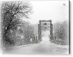 Snowy Day And One Lane Bridge Acrylic Print