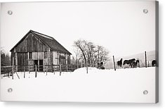 Snowy Day At The Farm Acrylic Print