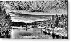 Snowy Day At The Green Bridge Acrylic Print by David Patterson