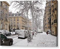 Snowy Day In Paris Acrylic Print by Louise Heusinkveld