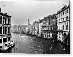 Acrylic Print featuring the photograph Snowy Day In Venice by Yuri Santin