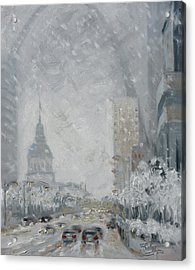 Snowy Day - Market Street Saint Louis Acrylic Print
