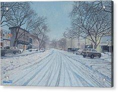 Snowy Day On Main Street, Sag Harbor Acrylic Print