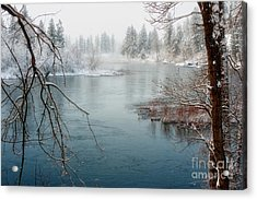 Snowy Day On The River Acrylic Print by Beve Brown-Clark Photography