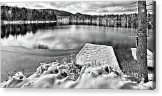 Acrylic Print featuring the photograph Snowy Dock by David Patterson