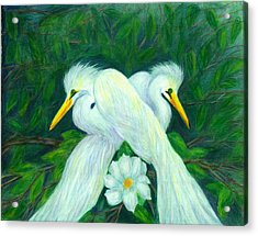 Acrylic Print featuring the painting Snowy Egrets by Jeanne Kay Juhos