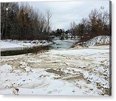 Snowy Elk Rapids River Acrylic Print