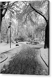 Snowy Entrance To The Park Acrylic Print by Rae Tucker