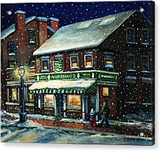 Snowy Evening In Gloucester, Ma Acrylic Print