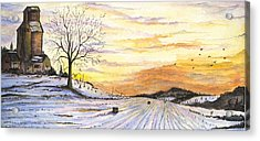 Acrylic Print featuring the digital art Snowy Farm by Darren Cannell