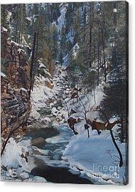 Snowy Forest Stream Acrylic Print