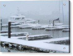 Snowy Harbor Acrylic Print