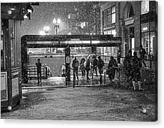 Snowy Harvard Square Night- Harvard T Station Black And White Acrylic Print