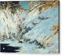 Snowy Landscape Acrylic Print by Gustave Courbet
