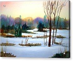 Snowy Landscape Scene Acrylic Print by Larry Hamilton