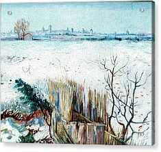 Snowy Landscape With Arles In The Background Acrylic Print