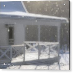 Snowy Maine Farmhouse Acrylic Print by Lyana Votey