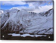Snowy Mountain Acrylic Print by Angie Wingerd