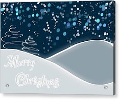 Snowy Night Christmas Card Acrylic Print