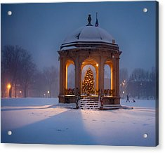 Snowy Night On The Salem Common Acrylic Print by Jeff Folger