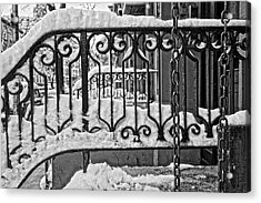 Acrylic Print featuring the painting Snowy Nyc Steps by Joan Reese