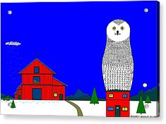 Snowy Owl On Red House. Acrylic Print by Richard Magin