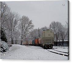 Snowy Rails Acrylic Print by Monica Veraguth