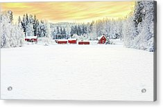 Snowy Ranch At Sunset Acrylic Print