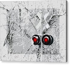 Snowy Red Light At Rr Crossing Acrylic Print
