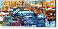 Snowy Roof Tops Acrylic Print by Mindy Newman