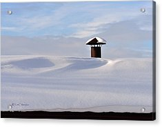 Snowy Roof With Stove Pipe Acrylic Print
