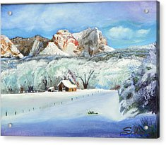 Acrylic Print featuring the painting Snowy Sugar Knoll by Sherril Porter