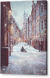 snowy Sunday night in Prague Acrylic Print by Gordana Dokic Segedin