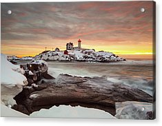 Snowy Sunrise Acrylic Print by Christopher Georgia