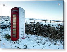 Snowy Telephone Box Acrylic Print by Helen Northcott