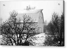 Snowy White Barn Acrylic Print