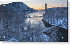 Snowy Winter Dawn At Three Bridges Acrylic Print