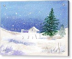 Snowy Winter Scene Acrylic Print by Arline Wagner