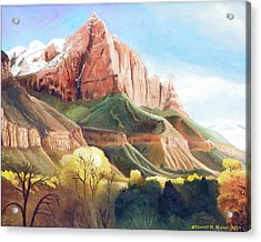 Acrylic Print featuring the painting Snowy Zion's Watchman by Sherril Porter