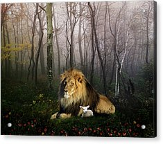 So The Lion Fell In Love With The Lamb Acrylic Print by Julie L Hoddinott